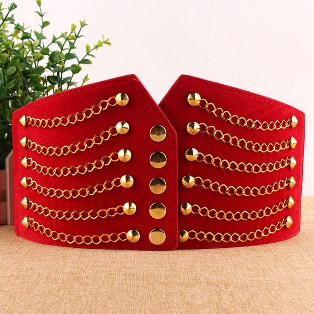 Punk Style Gold Rivet Metal Chain Belt Stretch Elastic Super Wide Pu Belts 5 Colors Free Size