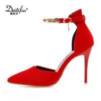 Daitifen אופנה בנות מסיבת חתונה עקבים גבוהים פגיון בתוספת גודל נשים נעלי אצבע מחודדת נוחות רצועת אבזם מוצקה עם מתכת