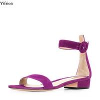 Yifsion New Elegant Women Sandals Square Heel Sandals Open Toe Ladies Black Blue Brown Grey Purple Nice Shoes Plus US Size 4 15