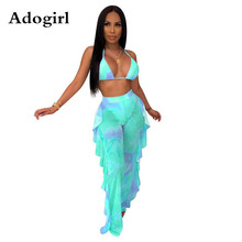 Tie Dye Galaxy Print Summer 2 Piece Set Woman Sexy Bra Halter Crop Top Ruffles Splicing Side Straight Wide Leg Pants Clubwear tie side striped cami top with wide leg pants