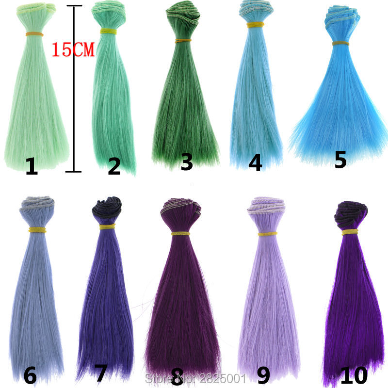 1 Pcs 15*100cm BJD Wig Fashion Multicolor Green Blue Purple Hand Made Straight Hair 1/3 1/4 BJD Diy Doll Hair For Barbie