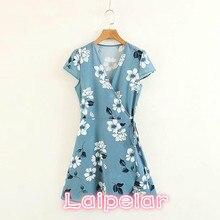 Sexy Deep v eck floral Boho Summer Dress women short sleeve bow wrap Mini dress 2018 korean chiffon beach girl vestidos