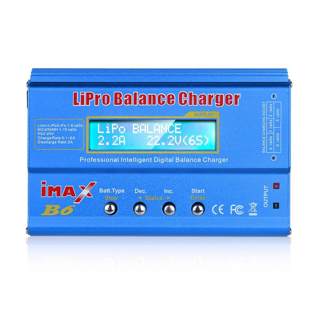 HTRC IMAX B6 80W cargador de batería Lipo NiMh Li-ion Ni-Cd Digital RC IMAX B6 Lipro cargador de equilibrio descargador + adaptador de 15V 6A