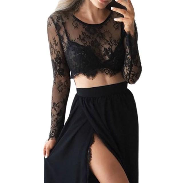 Women's Solid Splicing Mesh Perspective Slim Long Sleeve Sexy Short Shirt