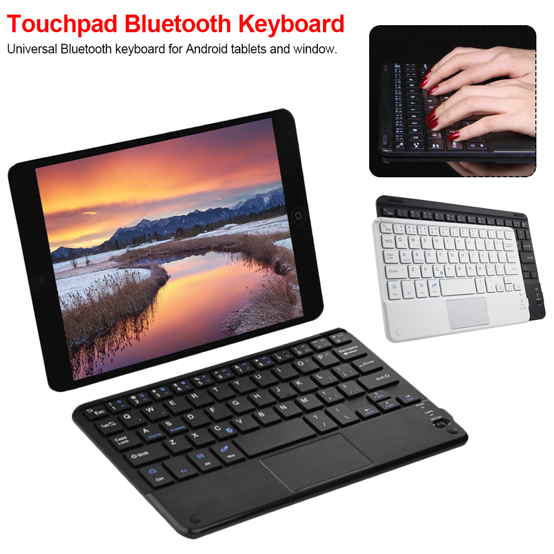 Black 7 Inch For  Universal Android Windows Wireless Bluetooth Keyboard With Touchpad For Android Windows Tablet