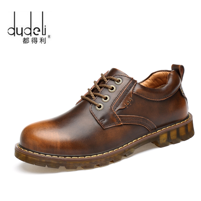 DUDELI Men Genuine Leather Casual Shoes Leather Brand Men Shoes Work Safety Boots Designer Men Flats Men Work & Safety Shoes
