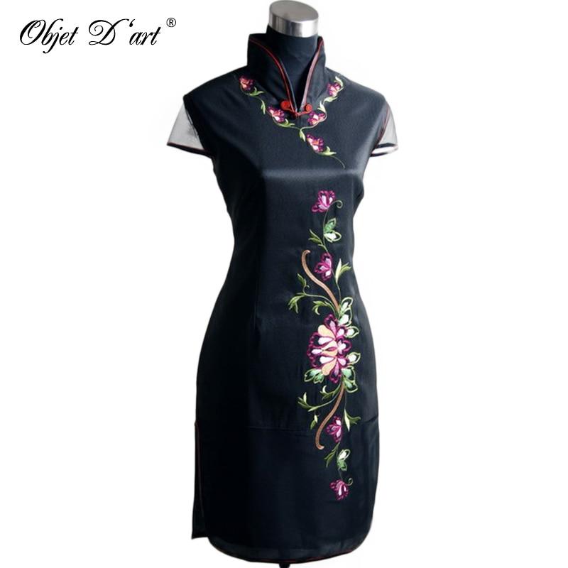 ff7340ea631e6c Plus Size Kobiet Cheongsam Krótka Sukienka Rękawy Wysokiej Jakości Haft  Kwiaty Qipao Chiński Tradycyjny Stanąć Kołnierz Qipao Sukienka