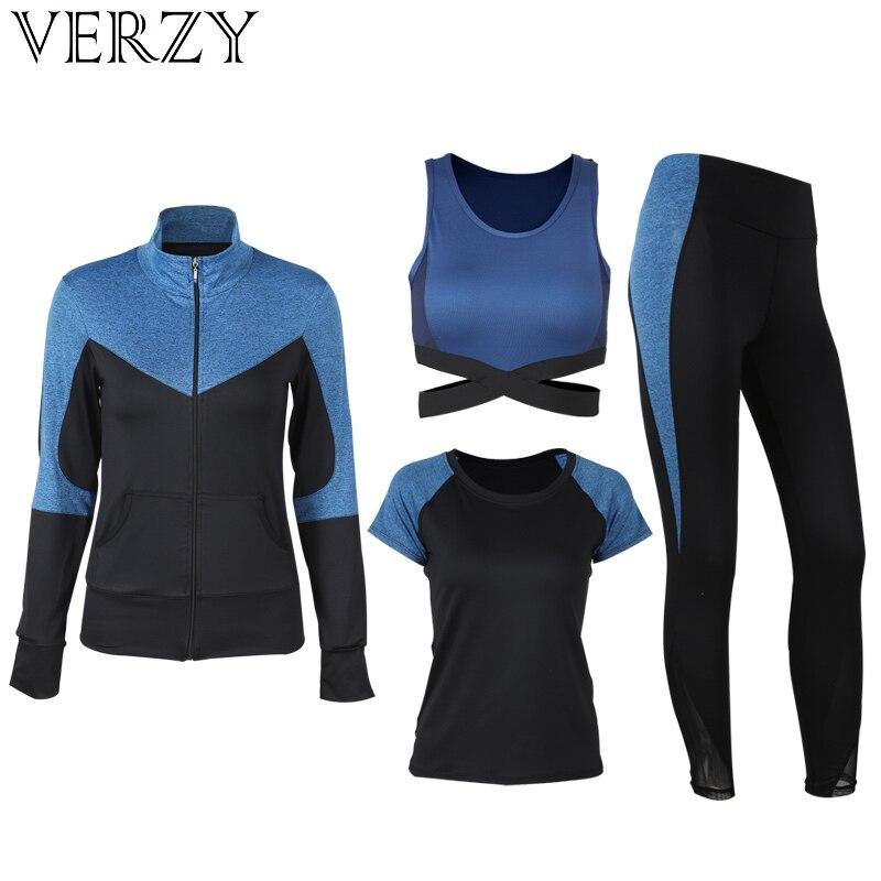 2018 New Yoga Set 4 Pcs Women Sportswear Female Outdoor Patchwork Training Suit Breathable Jacket Shirt Bra Legging Exercise Set