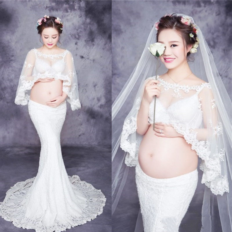 Lace White Maternity Photography Props Pregnancy Dress Photography Maternity Dresses For Photo Shoot Pregnant Women Vestidos maternity dress lace slash neck maternity dresses sleeveless maternity photography props for pregnant dress