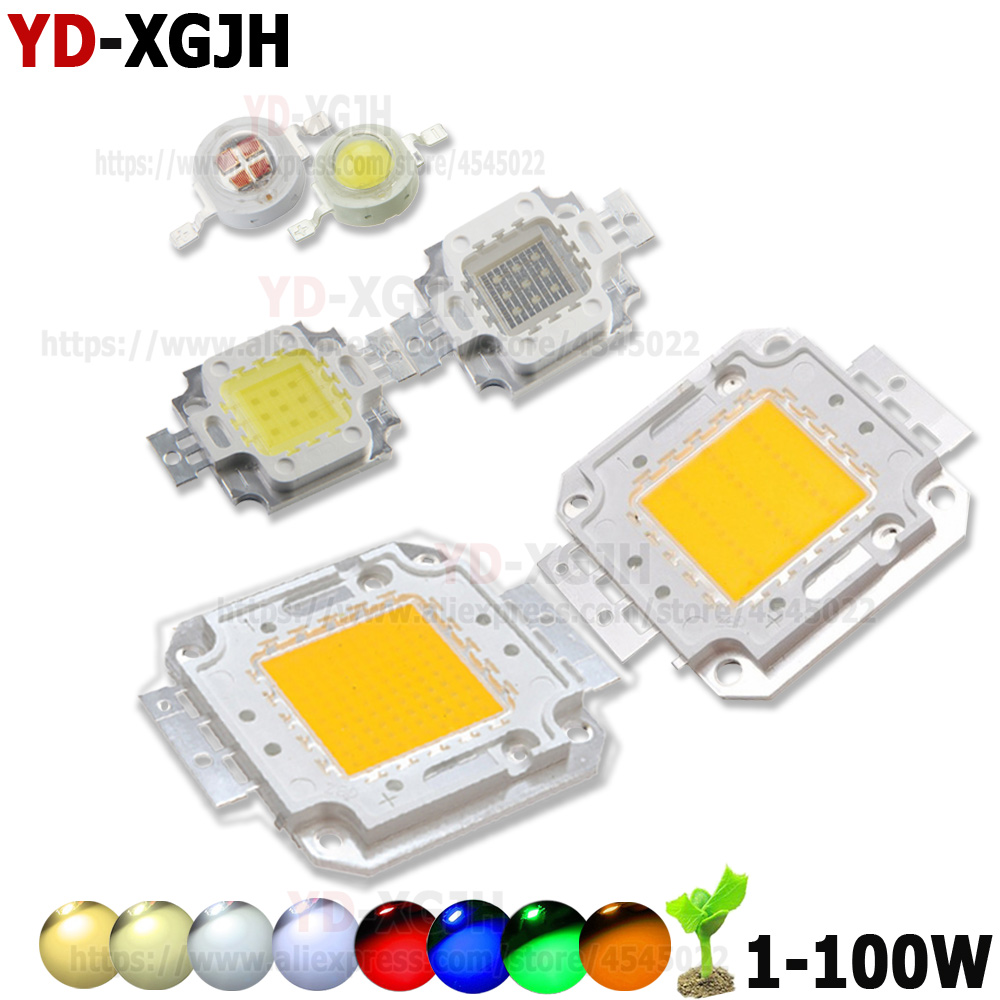 High Power LED COB Chip 1W 3W 5W 10W 20W 30W 50W 100W SMD Light Warm White Red  Green Blue Yellow For DIY  Outdoor LED Foodlight