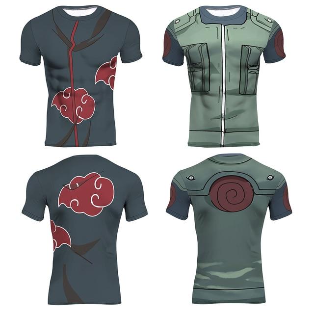 Naruto 3D Imprimé T-shirts Top Hommes Compression Chemise Kakashi Akatsuki  À Manches Courtes Tops 2a3f3a69c1e