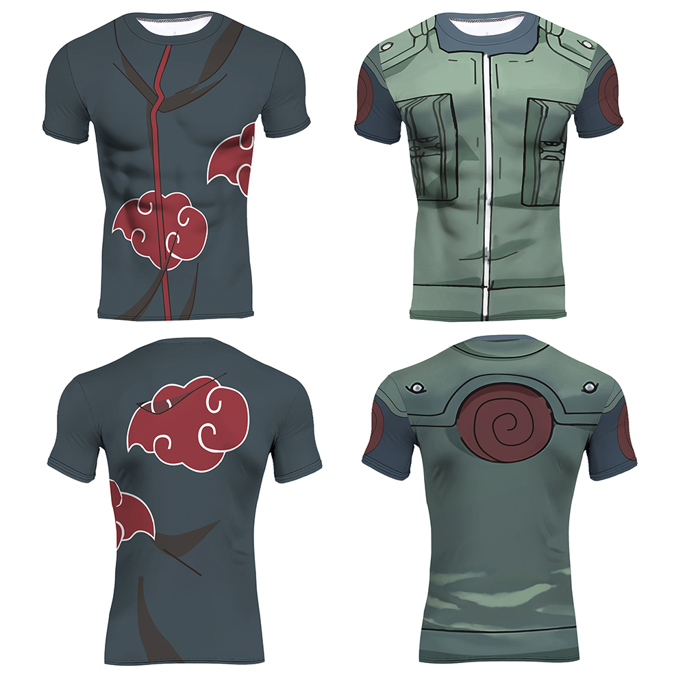 Naruto 3D Printed T-shirts Top Men Compression Shirt Kakashi Akatsuki Short Sleeve Tops Crossfit Fitness BodyBuilding Clothes