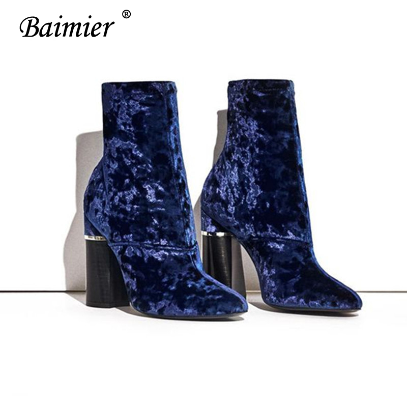 Baimier Winter Velvet Ankle Boots For Women Chunky Heel Women Sock Boots Pointed Toe High Heels Boots Women Luxury Shoes Woman 6