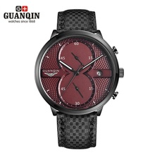 2016 Marca de Lujo GUANQIN Relojes de Moda Militar Ocasional Deportivo de Cuero Reloj de Cuarzo Hombres del Cronógrafo del Reloj Relogio masculino