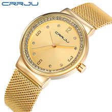 New Brand 2017 CRRJU Relogio Feminino Clock Women Watch Stainless Steel Watches Ladies Fashion Casual Watch