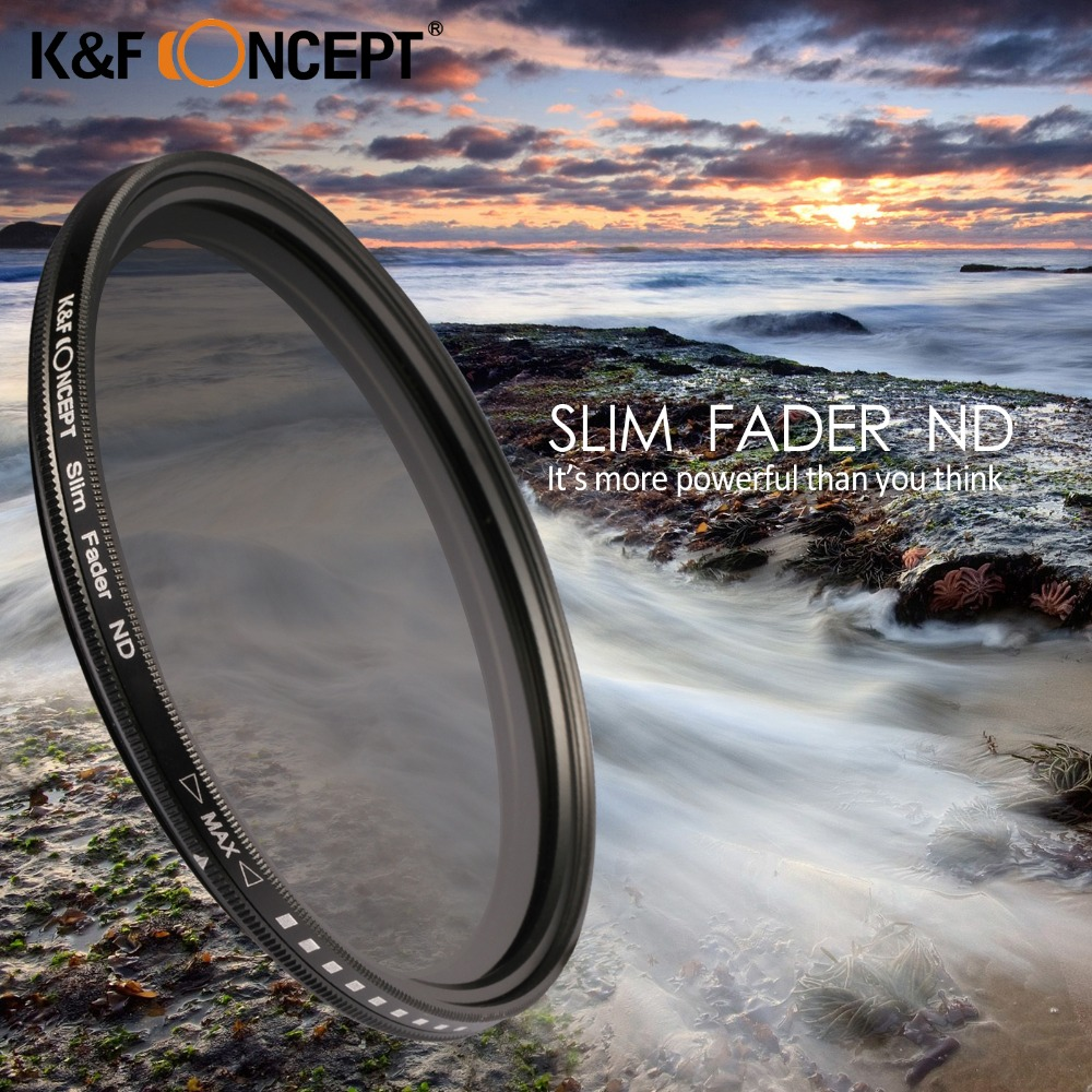 K & F CONCEPT Slim ND2-400 Penapis Lensa Kamera Adjustable Fader Variabel 37 49 52 55 58 62 67 72 82mm Untuk Canon Nikon Sony Camera