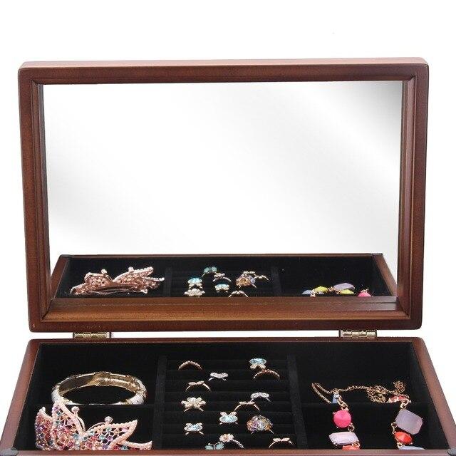 Brown Large Wooden Jewelry Box Display Organiser Velvet Case Rings Earring Bracelet Storage Packaging Mirror Vintage