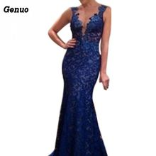 Genuo Sexy Women Lace Dress Deep V-neck Backless Sleeveless Maxi Dresses Elegant Floral Formal Evening Party
