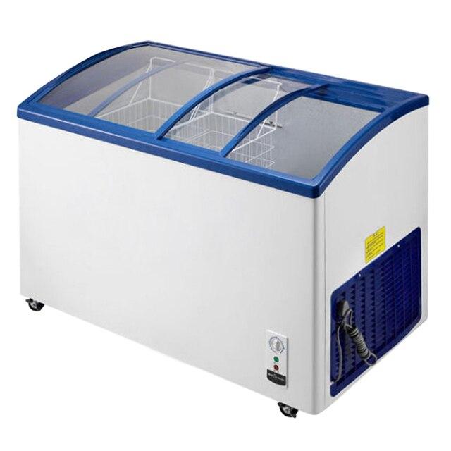 מודרני גלידת תצוגת למעלה דלתות הזזה זכוכית מעוגלת 291L לבן עמוק מקפיאים OV-89