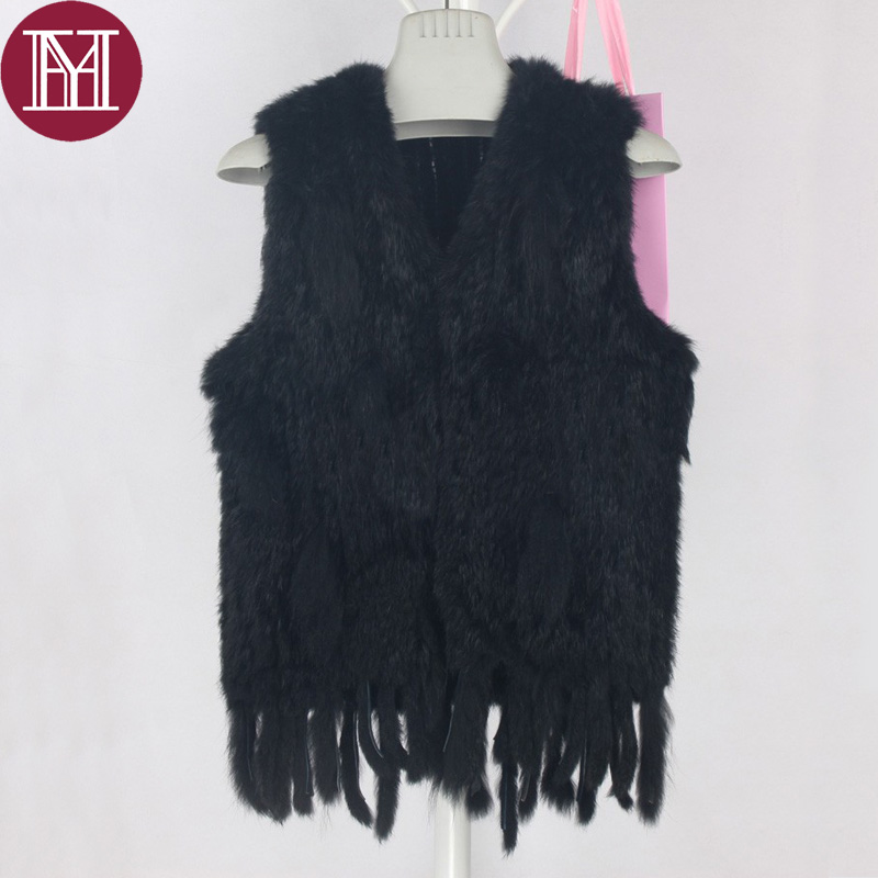 Winter women real rabbit fur vest with tassel lady knit 100% real