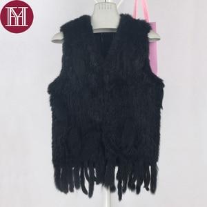 Image 1 - Winter women real rabbit fur vest with tassel lady knit 100% real rabbit fur jacket sleeveless coat 2018 new fashion