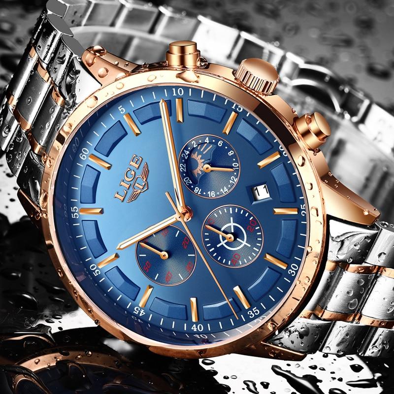 Lige Mode Herren Uhren Top Brand Luxus Voller Stahl Sport Quarzuhr Männer Business Wasserdichte Gold Uhr Relogio Masculino