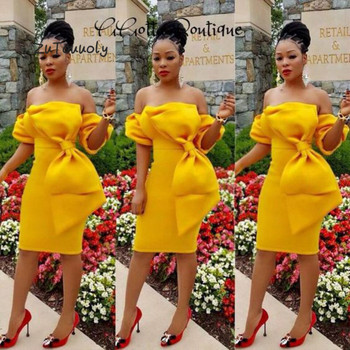 Unique Short Evening Dress With Big Bow Yellow Red Sheath Strapless Sexy South African Women Formal Party Prom Dresses 2019