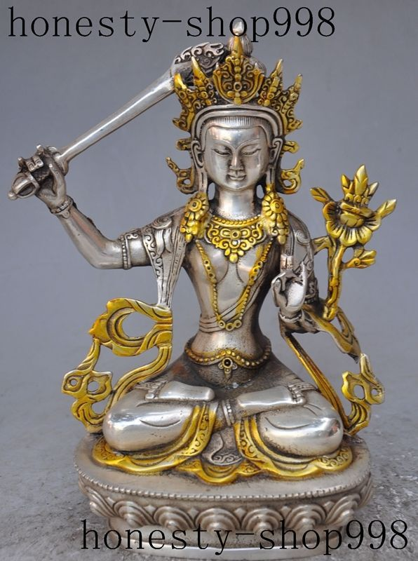 tibet buddhism fane silver Manjusri Bodhisattva kwanyin GuanYin buddha statue metal handicrafttibet buddhism fane silver Manjusri Bodhisattva kwanyin GuanYin buddha statue metal handicraft