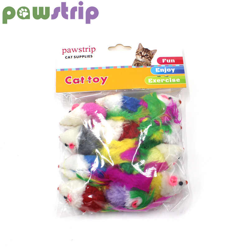 pawstrip 12pcs/pack Colorful Feather Cat Toys False Mouse Kitten Cat Toy With Sound Rattling
