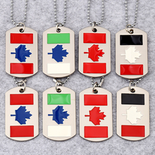 NYUK Canada Flag Necklaces Colourful Maple Leaf Military License Charm Pendant Necklace Double Dog Tag Fashion Jewelry For Gift(China)