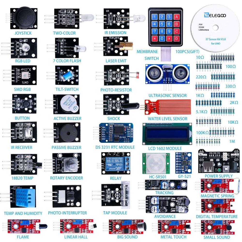 כרטיסי טלויזיה ועריכה ELEGOO Arduino Uno ננו R3 סט בשל חיישן Arduino קיט מודולים משודרג 37 ב 1 Kit עם הדרכה עבור Arduino MEGA 2560 Nano (1)