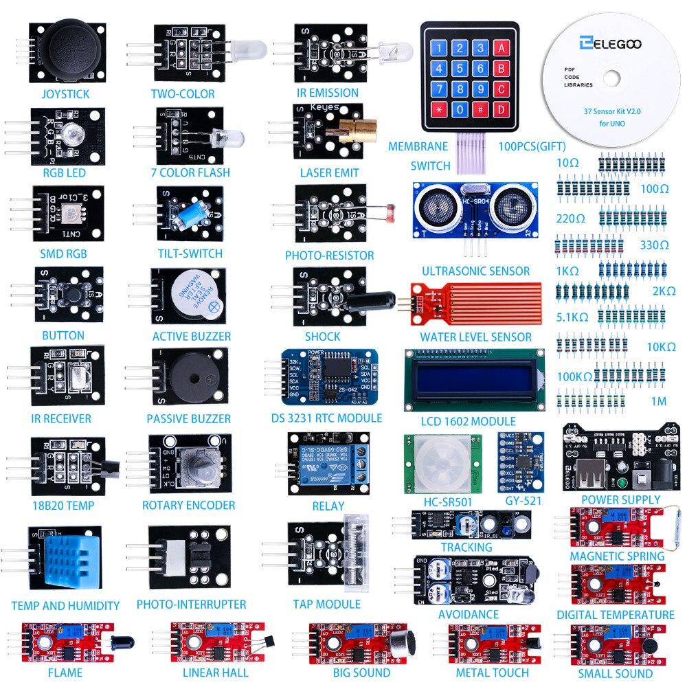 ELEGOO Arduino Uno Nano R3 ensemble capteur dû Kit Arduino mis à niveau Kit 37 en 1 avec tutoriel pour Arduino MEGA 2560 Nano