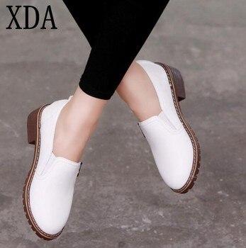 XDA 2018 w nowym stylu Kobiet Płaskie Buty Okrągłe Toe Oxford Buty Kobieta PU Kobiety bullock Buty Darmowa Wysyłka