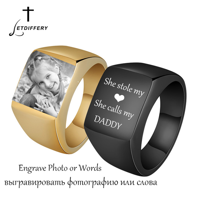 08c025c4795cd US $1.99 |Letdiffery Stainless Steel Custom Mens Signet Rings Personalize  Engrave Photo Midi Ring For Boyfriend Gift-in Rings from Jewelry & ...