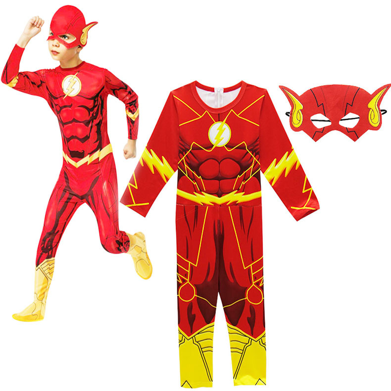 Boy's The Flash Jumpsuit Kids Cartoon 3D Print Bodysuit Children's Clothing Set Halloween Carnival Party Cosplay Costume