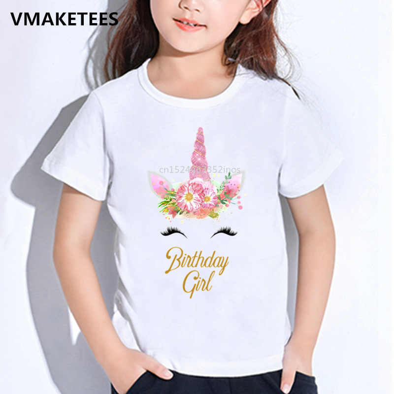 Kids Summer T shirt Happy Birthday Girl Unicorn Face Print Children's T-shirt Baby Girls Funny Gift Cute Cartoon Clothes,HKP5249