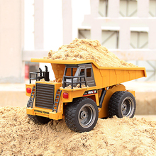 LED RC Car Remote Control Toys Car Electric Alloy Engineering Vehicles Remote Dump Truck Excavator RC
