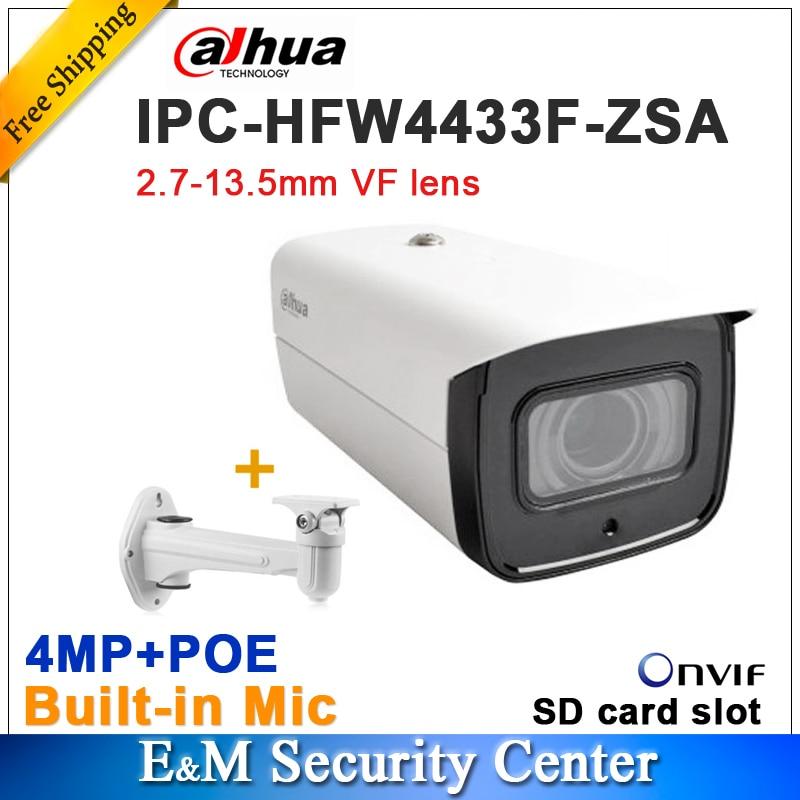Original Dahua IPC-HFW4433F-ZSA Replace IPC-HFW4431R-Z Starlight Camera 2.7-13.5 VF Motorized IR80M MIC POE Bullet With Bracket