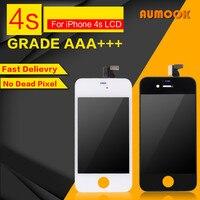 1 шт. Класс AAA без битых пикселей белый черный для IPhone 4S ЖК-дисплей Дисплей планшета Ассамблея холодной Пресс Рамки Бесплатная доставка стекл...