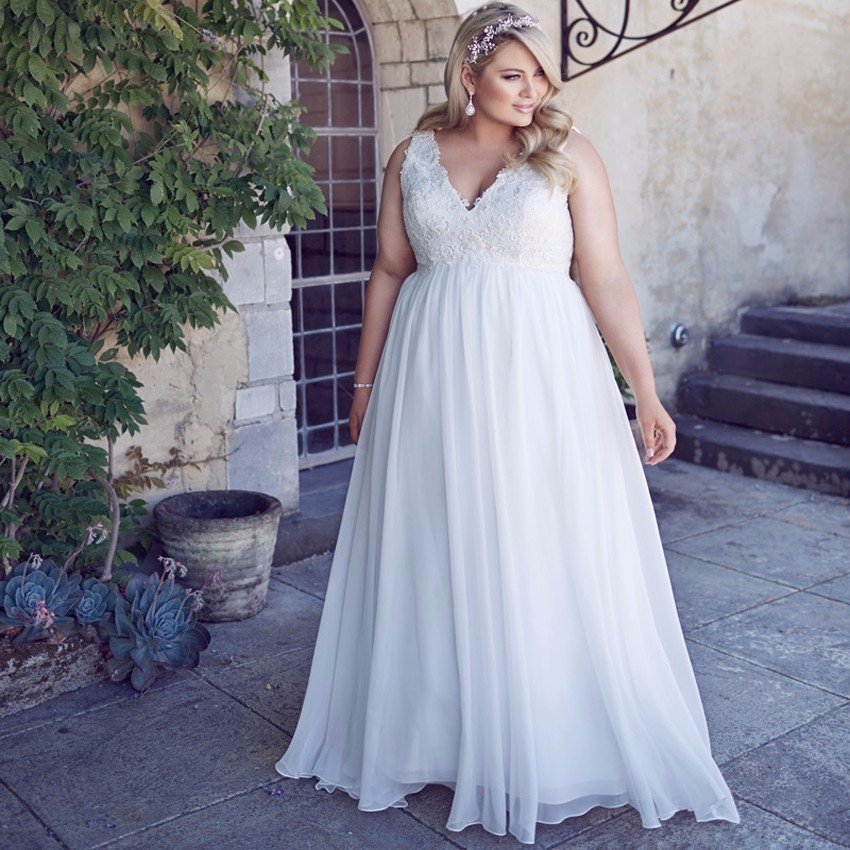 ADLN New Arrival Plus Size Vestido De Noiva Wedding Dresses Sexy V-neck Appliques Chiffon Floor-length Bridal Dress 7