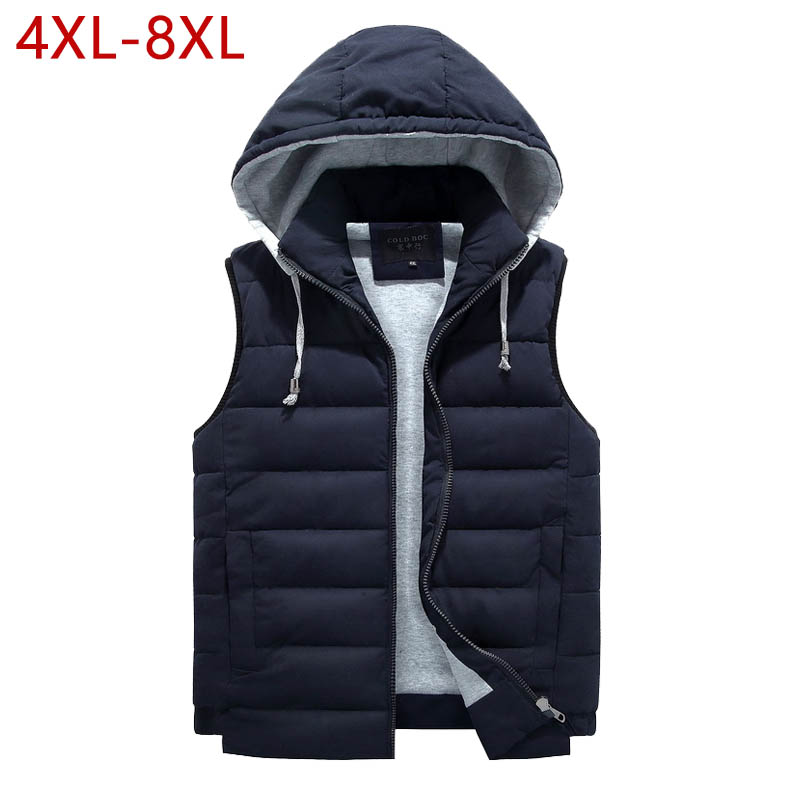 4XL-8XL grande taille 2019 nouveau gilet hommes hiver chaud mode décontracté travail gilet gilet à capuche fermeture éclair solide sans manches veste 3ZWJ14