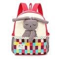 NEW Design cartoon Children'backpack Girls Color lattice Rabbit toy School Bag Kids canvas shoulder bag Kindergarten Bag