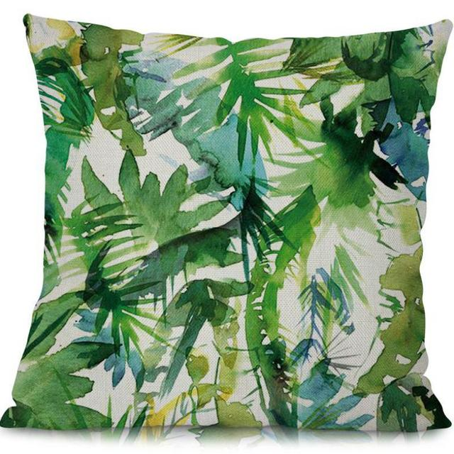 Modern Minimalist Green Plant Printing Cotton Linen Backrest Pillow Sofa Office Chair Seat Cushion For Home
