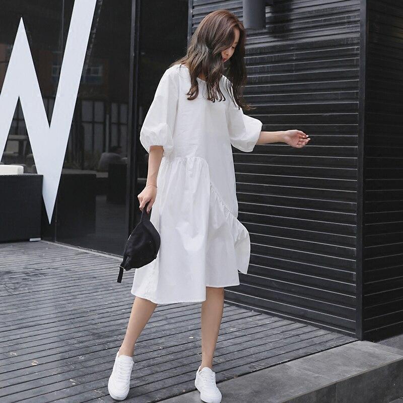 2019 été coréen plissé à manches courtes robe lâche décontracté irrégulière lanterne manches robe haute rue volants genou-longueur robe