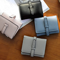 2016 New Fashion Korean Simple Women Wallets Drawstring Wallet Women's Short Design Purse 3 Fold More Color Clutch Card Holder