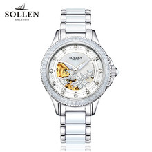 SOLLEN Watches Women With Flowers 2017 New Ladies Wristwatch Waterproof Ceramic Band Sapphire Automatic Mechanical Watch Hot