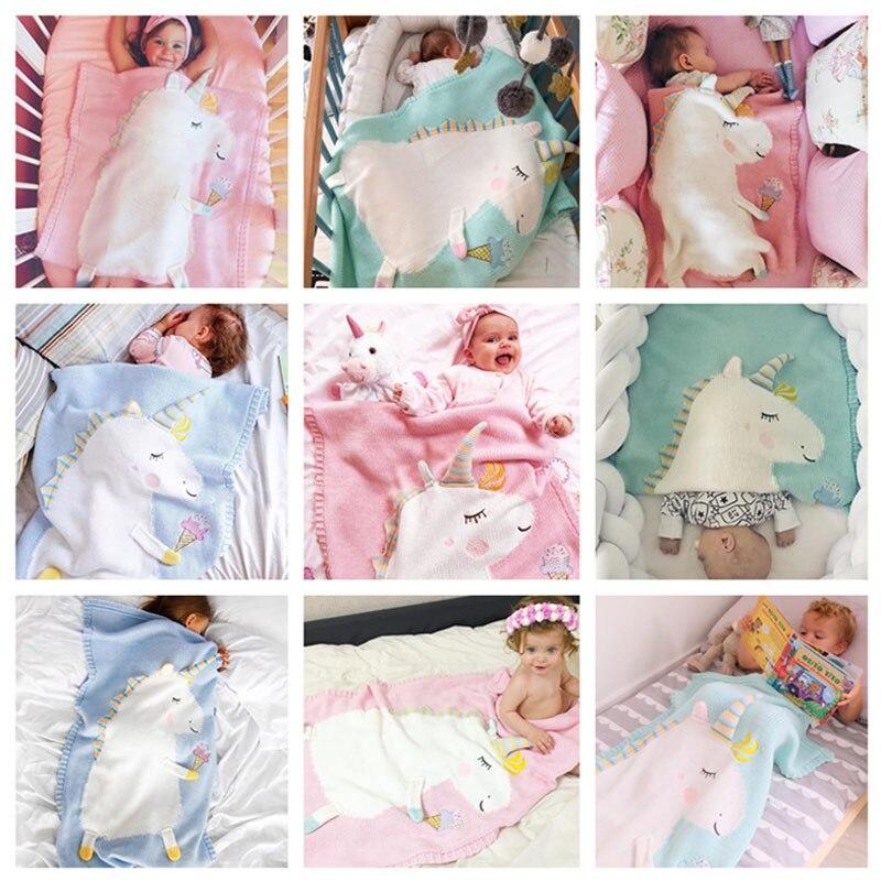 Ins bébé couverture hiver nouveau-né mignon 3D licorne couverture doux chaud tricoté Swaddle enfants serviette de bain bébé bambin literie couvertures