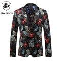 Kirin fuego de la Nueva Llegada 2017 Hombres Blazers Chaqueta Para Los Hombres de Mariposa de Impresión Patrón de Estilo Británico Traje De Boda de La Marca Blazers Q203