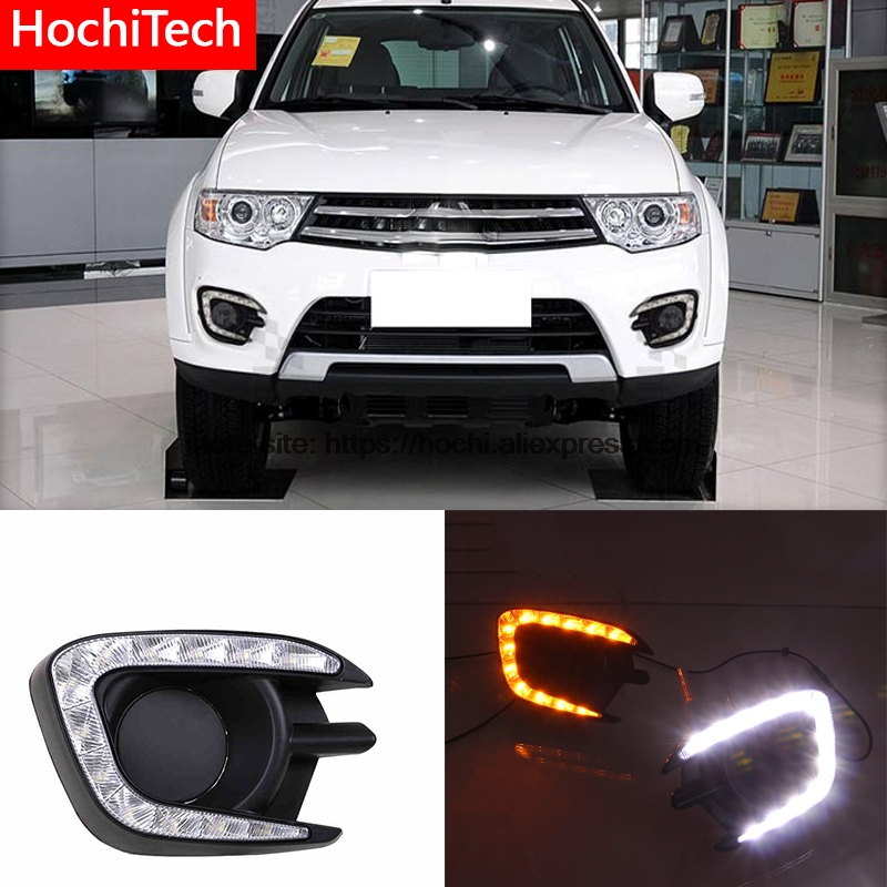 High quality Yellow Turning Function Glossy Black ABS Car DRL LED Daytime Running Light For Mitsubishi Pajero Sport 2013-2015