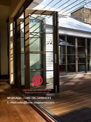 Алюминиевые двустворчатые складные двери со встроенными очками, сборная Складная Дверь-гармошка с рамой из алюминиевого сплава, наружная